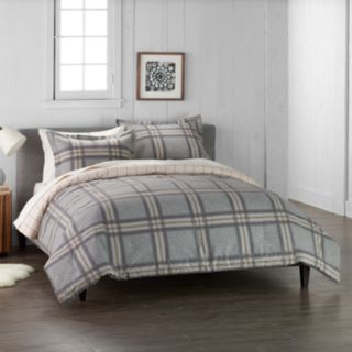 Cuddl Duds Home Gray Plaid Duvet Cover Set