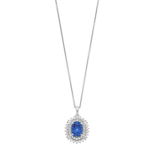Simply Vera Vera Wang Lab-Created Blue & White Sapphire Oval Pendant Necklace