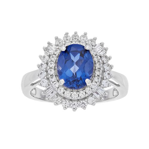 Simply Vera Vera Wang Lab-Created Blue & White Sapphire Oval Halo Ring