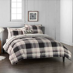 cuddl duds home gray lodge plaid 4 piece flannel comforter set - King Bedding