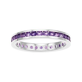 Traditions Sterling Silver Channel-Set Amethyst Birthstone Ring