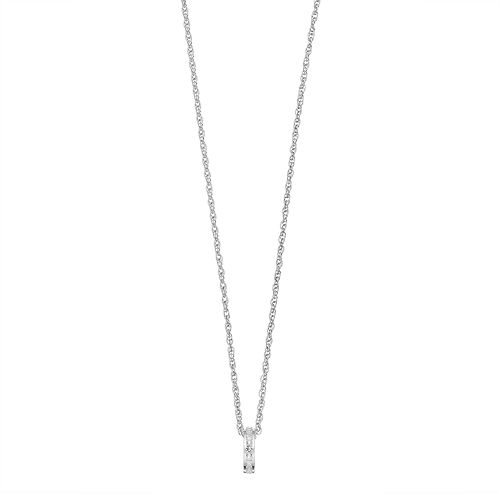 Traditions Sterling Silver Channel-Set White Topaz Birthstone Pendant Necklace