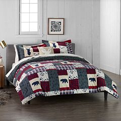 Cuddl Duds Home Patchwork 4-piece Flannel Comforter Set