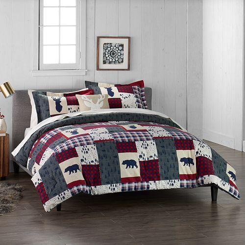 Cuddl Duds Home Patchwork 4-piece Flannel Comforter Set