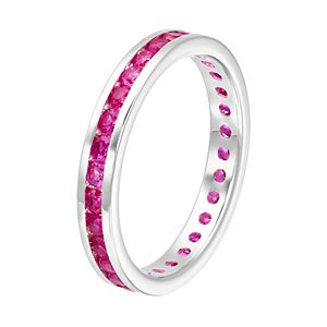 Traditions Sterling Silver Channel-Set Lab-Created Ruby Birthstone Ring
