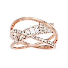 Brilliance Rose Gold Tone Orbit Ring with Swarovski Crystals