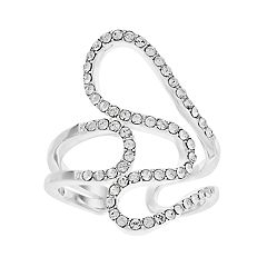Brilliance Silver Plated Abstract Swirl Ring with Swarovski Crystals