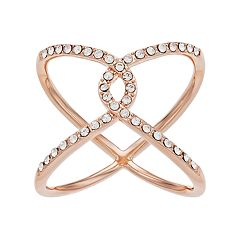 Brilliance Rose Gold Tone Open Knot Ring with Swarovski Crystals