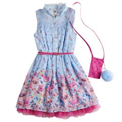 Girls 7-16 Knitworks Floral Belted Shirtwaist Dress with Purse & Poof Keychain