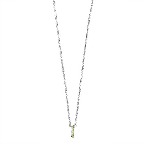 Traditions Sterling Silver Channel-Set Peridot Birthstone Pendant Necklace