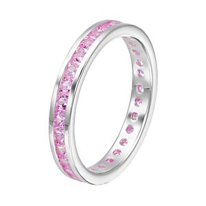 Traditions Sterling Silver Channel-Set Pink Tourmaline Birthstone Ring