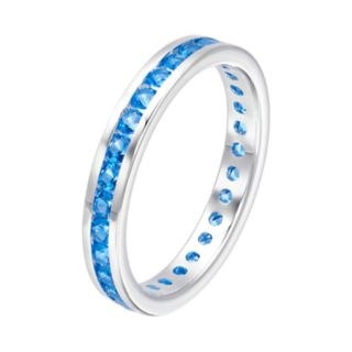 Traditions Sterling Silver Channel-Set Blue Topaz Birthstone Ring