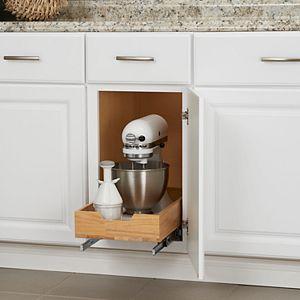 Household Essentials Glidez Wood 1-Tier 11.5-inch Wide Sliding Under Cabinet Organizer