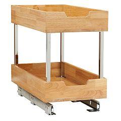 Household Essentials Glidez Wood 2-Tier 11.5-inch Wide Sliding Under Cabinet Organizer