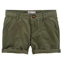 Baby Girl Carter's Solid Roll Cuff Twill Shorts