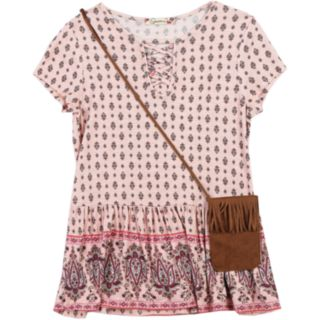 Girls 7-16 Speechless Printed Peplum Top & Purse Set