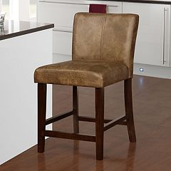 Linon Miller Distressed Faux-Leather Counter Stool