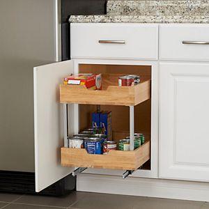Household Essentials Glidez Wood 2-Tier 14.5-inch Wide Sliding Under Cabinet Organizer
