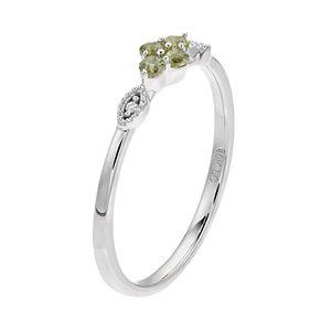 LC Lauren Conrad 10k White Gold Green Sapphire & Diamond Accent Flower Ring