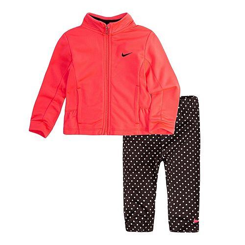 Girls 4-6x Nike  Peplum-Hem Tricot Jacket & Polka-Dot Leggings Set