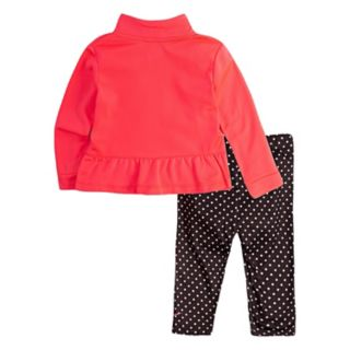 Girls 4-6x Nike  Peplum-Hem Tricot Jacket & Polka-Dot Leggings Set
