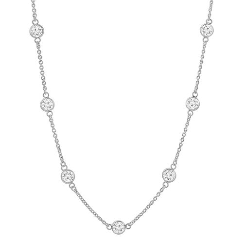 PRIMROSE Sterling Silver Cubic Zirconia Station Necklace