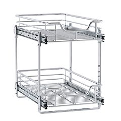 Household Essentials Glidez 2-Tier 11.5-inch Wide Dual Sliding Under Cabinet Organizer