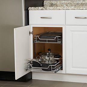 Household Essentials Glidez 2-Tier 14.5-inch Wide Dual Sliding Under Cabinet Organizer