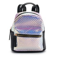 Textured Hologram Mini Backpack