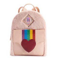 Heart, Rainbow & Hologram Faux Fur Mini Backpack