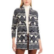 Petite Chaps Southwestern Print Toggle Sweater Jacket