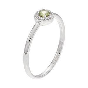 LC Lauren Conrad 10k White Gold Green Sapphire & Diamond Accent Halo Ring