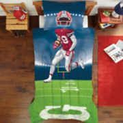 Dream Big Football Player Twin Full Comforter Set