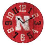 Nebraska Cornhuskers Round Clock