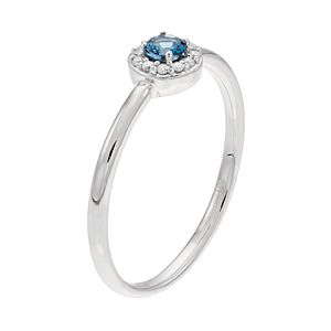LC Lauren Conrad 10k White Gold London Blue Topaz & Diamond Accent Halo Ring