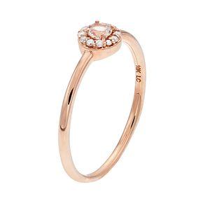 LC Lauren Conrad 10k Rose Gold Morganite & Diamond Accent Halo Ring