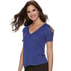 Women's Jennifer Lopez Lace Cold-Shoulder Tee