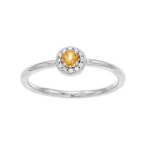 LC Lauren Conrad 10k White Gold Citrine & Diamond Accent Halo Ring