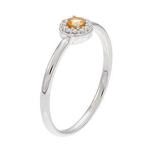 LC Lauren Conrad 10k White Gold Citrine & Diamond Accent Halo Ring