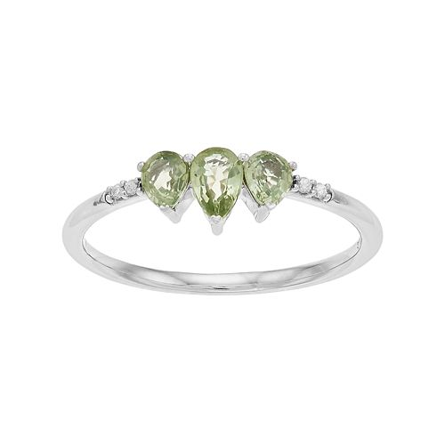 LC Lauren Conrad 10k White Gold Green Sapphire & Diamond Accent 3-Stone Teardrop Ring