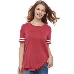 Juniors' Pink Republic Striped-Sleeve Tee