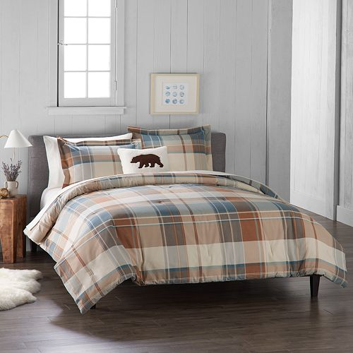 Cuddl Duds Home Blue Plaid 4-piece Flannel Comforter Set