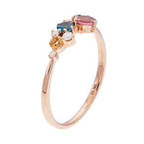 LC Lauren Conrad 10k Rose Gold Gemstone & Diamond Accent Ring