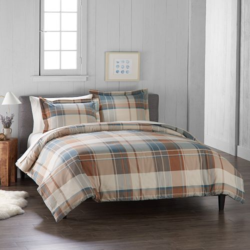 Cuddl Duds Home Blue Plaid Duvet Cover Set