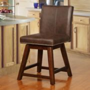 Linon Cedar Finish Swivel Counter Stool