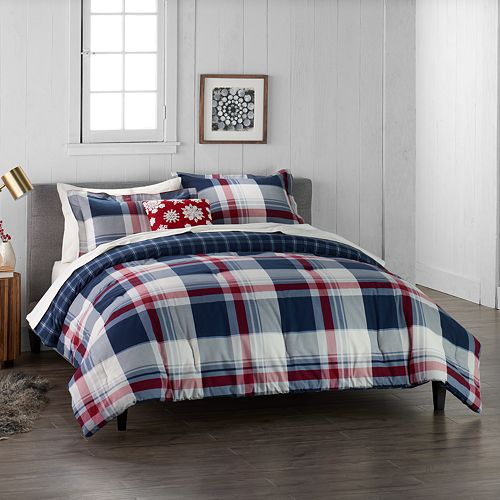 Cuddl Duds Home Red Lodge Plaid 4-piece Flannel Comforter Set