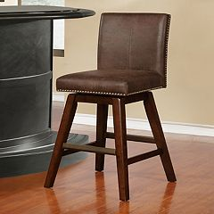 Linon Cedar Finish Swivel Bar Stool