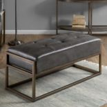 INK+IVY Waldorf Faux-Leather Bench