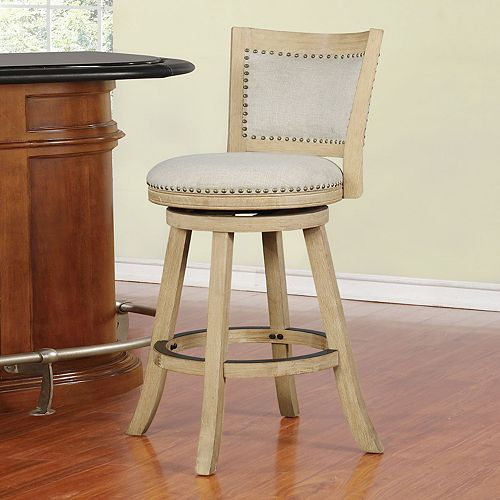 Linon Sydnee Natural Finish Bar Stool