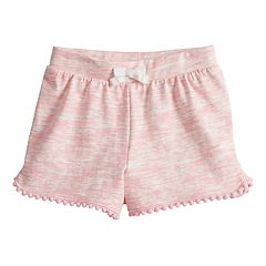 Baby Girl Jumping Beans® Space-Dye Pom-Trim Shorts
